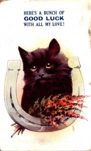 Humour Black Cat & Horseshoe Here's A Bunch Of Good Luck With All My Lov...