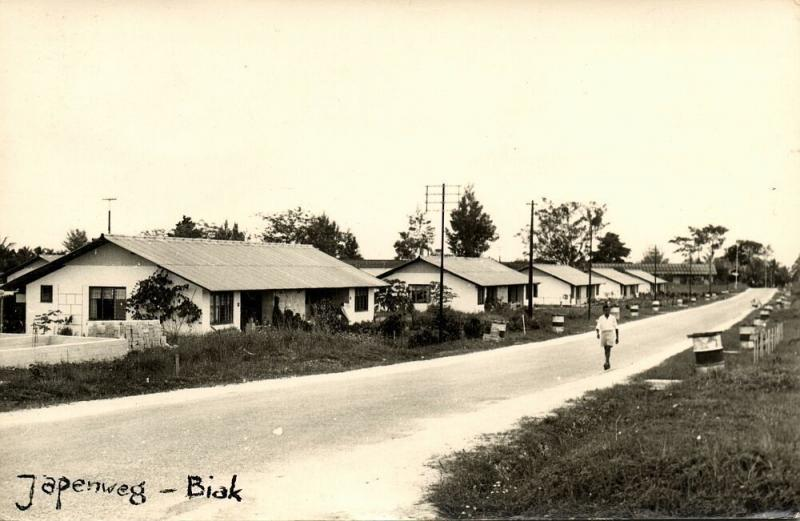 dutch new guinea, BIAK, Japenweg (1961) RPPC Stamp
