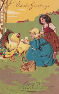 EASTER, PU-1906; Girls showing egg to rooster & hen, PFB 5753