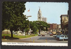 NY Public Square Church Watertown New York Postcard City View