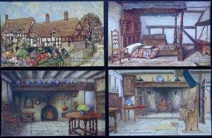 Warwickshire Collection 4 x STRATFORD ON AVON Anne Hathaways House Old Postcards