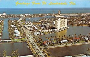 FORT LAUDERDALE FLORIDA VENICE OF AMERICA~AERIAL POSTCARD 1960s