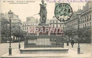 Postcard Nantes Old Course of the Republic and Statue of Cambronne
