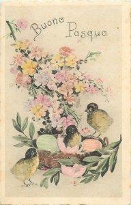 Happy Easter eggs surrealism fantasy Postcard poultry chicken floral design