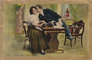 Working Overtime, Man leaning over table to kiss smiling woman on the cheek...