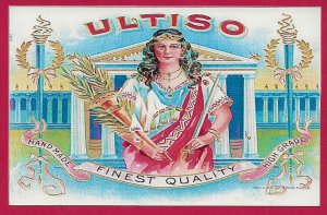 H-014 - Ultiso Finest Quality Cigar Box Label Repro Souvenir Picture Postcard