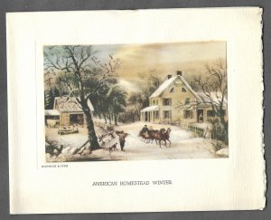VINTAGE 1940s WWII ERA Christmas Greeting Card AMERICAN HOMESTEAD Currier & Ives