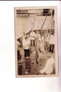 Photograph, Shark Caught by Sailors Fishing, TSS Peten During July 1934 Cruise