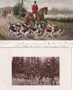 Fox Hunting Real Photo & Antique 2x Postcard s
