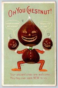 Fantasy Face Chestnut Man~Little Nuts Crack Jokes~Anthropomorphic 1910 Embossed