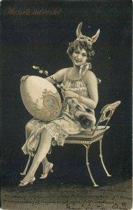 Easter fantasy glamorous lady rabbit mask head decoration huge egg bunny 1900s