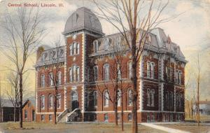 Lincoln Illinois~Central School~Puffy Mansard Roof~Quoins Postcard 1908