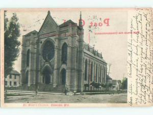 Pre-1907 ST. MARYS CHURCH Oshkosh Wisconsin WI n6881
