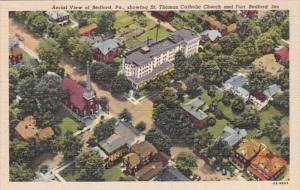 Pennsylvania Bedford Aerial View Showing St Thomas Catholic Church and Fort B...