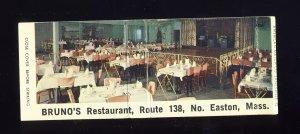 North Easton, Massachusetts/Mass/MA Match Cover, Bruno's Restaurant