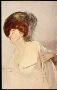 artist signed Woman with Feather Head (1910s) Art Nouveau