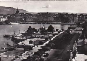 Switzerland Geneve Quai du Mont-Blanc et Vue sur la Ville 1952 Photo
