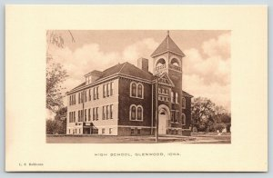 Glenwood Iowa~High School~LS Robinson Publisher~1908 Sepia Albertype Postcard