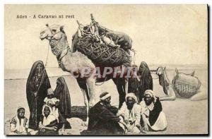 Old Postcard Aden A caravan at rest Camel