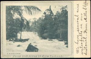 new zealand, Falls and Ferns, Waterfall (1905)