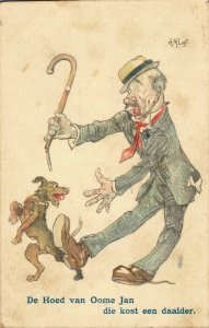 Funny postcard Old man with a walk stick is Playing with his Dog 03.38