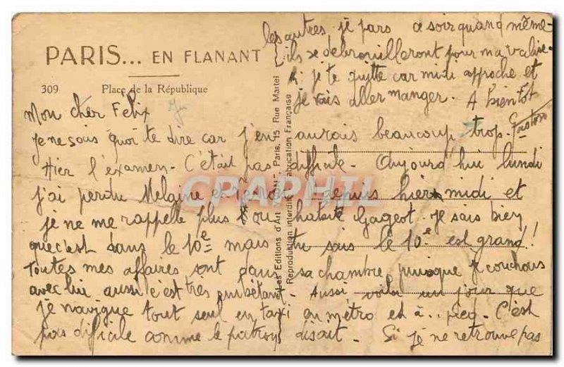 Old Postcard Paris Strolling Place de la Republique