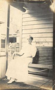 Pittsburgh Kansas~Randie?~Lady in White on Her Porch~1913 Real Photo Postcard