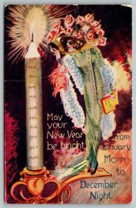 New Year Fantasy~Miniature Flashy Woman Lights Jan-Dec Candle~Cargill 1910 PC
