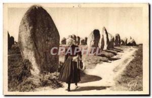 Old Postcard Dolmen Menhir Carnac alignments megalithic Kermario