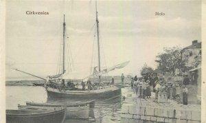 Postcard Croatia Cirkvenica Molo sea boat sail fishing