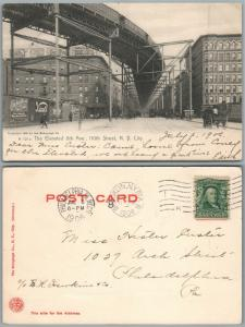 NEW YORK CITY N.Y. ELEVATED 8th AVENUE 110 STREET 1906 ANTIQUE POSTCARD railway