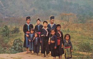 Thailand Group Of Hill Tribe Meo Children In Their Native Dress In Chiengmai