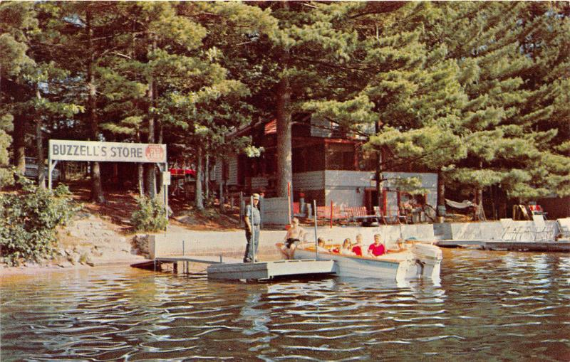Kingston New Hampshire~Buzzell's Grove on Kingston Lake~Kids in Boat~1960s Pc