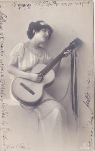 Woman Playing Guitar 1913 Real Photo