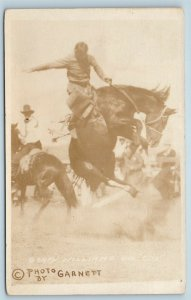 Postcard Rodeo Bucking Bronco Soapy Williams on Cox c1920s RPPC Real Photo T8