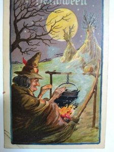 Halloween Postcard Witch Cauldron Haunted Moon Leubrie & Elkus 2231 Antique