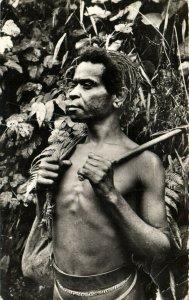 PC CPA PAPUA NEW GUINEA, GUERRIER MONTAGNARD, Vintage Postcard (b19746)