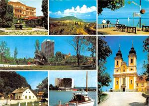 Hungary Udvozlet a Balatonrol Lake Balaton Boats Church Eglise Fountain Reyfulop