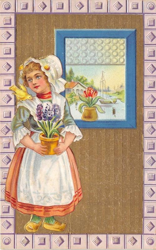 Pretty Girl with Potted Plant Next to Open Window~Tulips on Window Sill~c1910 Pc