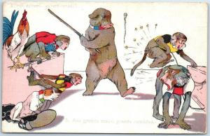 WWI French Animal Allegory Propaganda Postcard 5. To Great Evils, Great Remedies