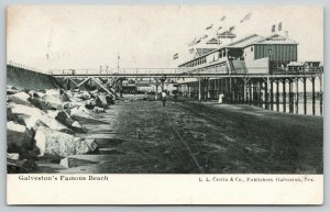 Galveston Texas~Beach Below Pier to Breakers Bath House~Rock Boulders~1907 B&W