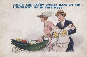 Flirtation Winking Lead To Huge Family Of Babies Pram Antique Comic Postcard