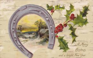Christmas & New Year Greetings , Horseshoe & Holly , PU-1908