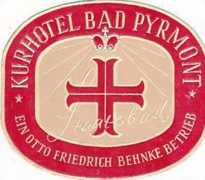 GERMANY BAD PYRMONT KURHOTEL BAD PYRMONT VINTAGE LUGGAGE LABEL