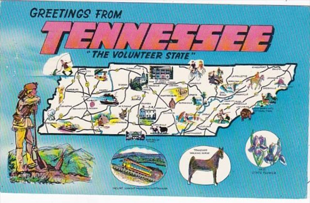 Greetings From Tennessee With Map 1960
