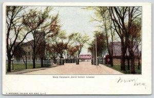 Rock Island Illinois~Rock Island Arsenal Main Entrance~Bridge Across Road~1907