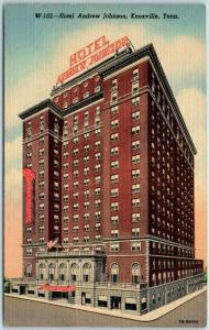 Knoxville, Tennessee Postcard HOTEL ANDREW JOHNSON Street View Curteich Linen