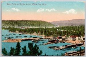 Coeur D'Alene~Docks & Waterfront~RR Depot~Hotel Idaho at Sunrise~c1910 Postcard