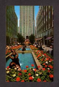 NY Rockefeller Plaza Gardens Fountains Promenade New York City NYC Postcard