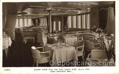 Queen Mary, Cabin Verandah Grill Ship Ships, Interiors, Postcard Postcards  Q...
